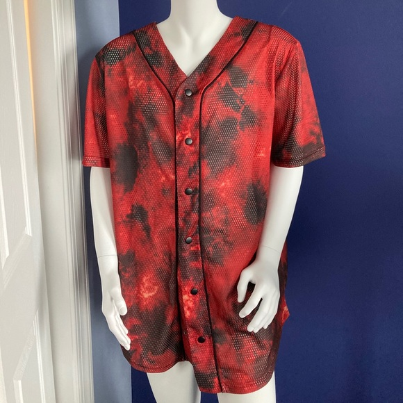 Hot Topic RED Tie Dye Baseball Jersey